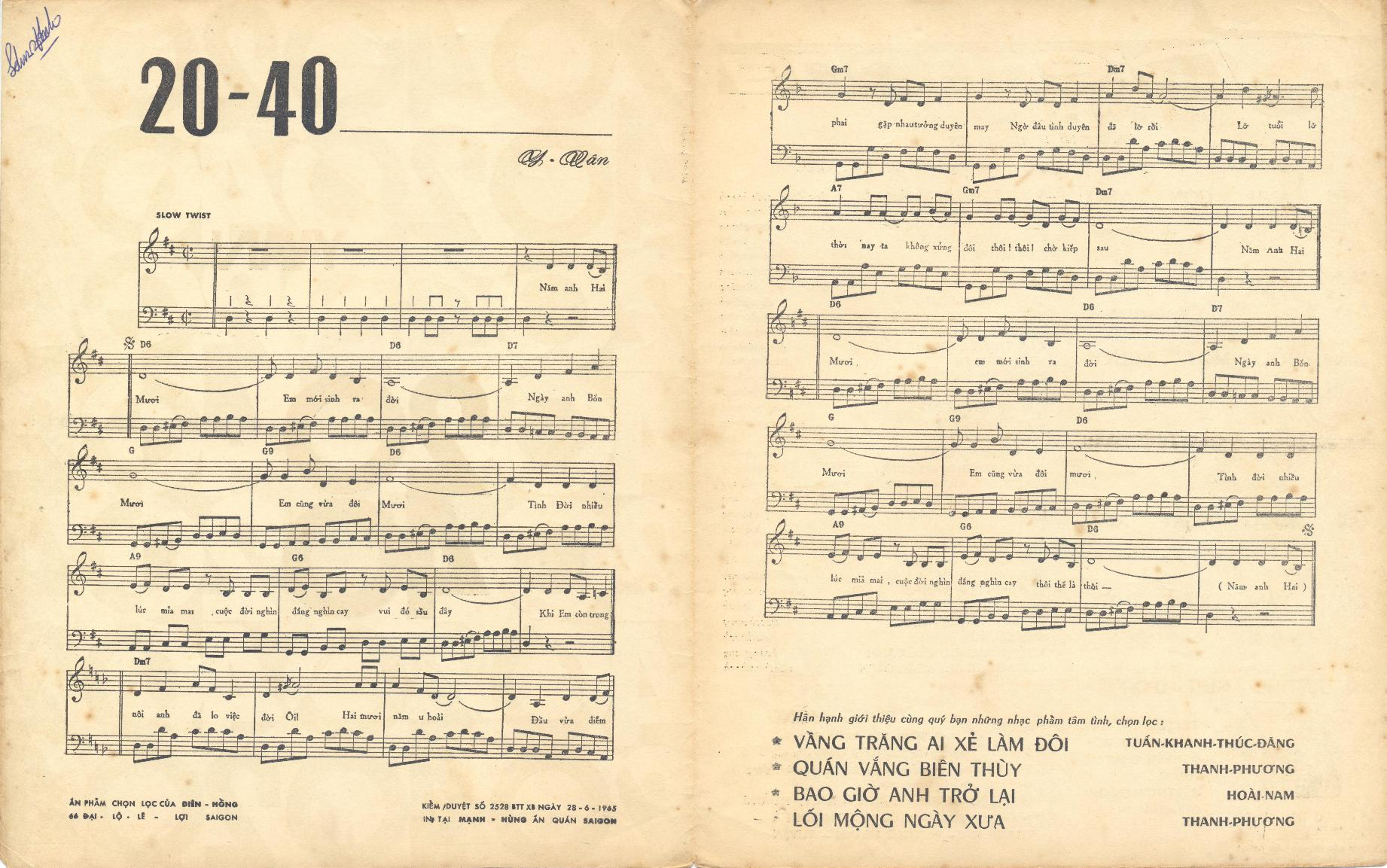 Hợp âm, nốt và lời - Hai mươi Bốn mươi ( 20-40 )