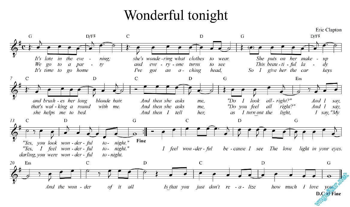 Sheet Notes Chords Wonderful Tonight Eric Clapton Sheet