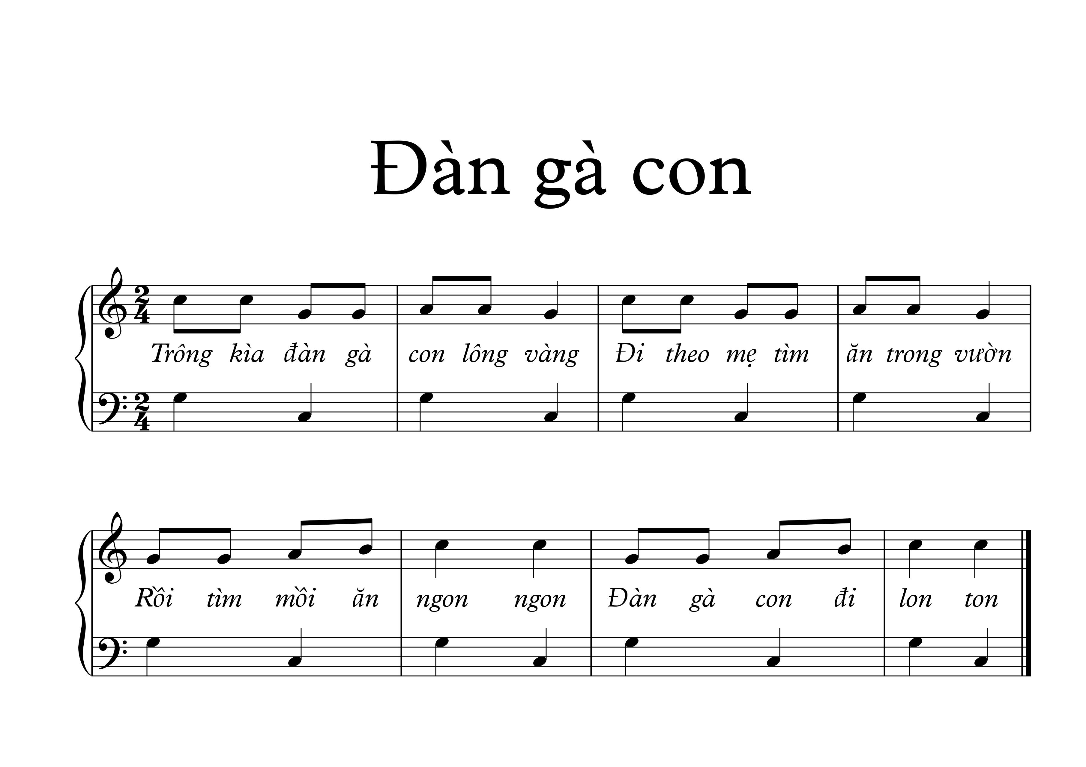 Hợp âm, nốt và lời - Đàn gà con - Việt Anh - Sheet nhạc   Nốt nhạc   Hợp âm - VN Guitar