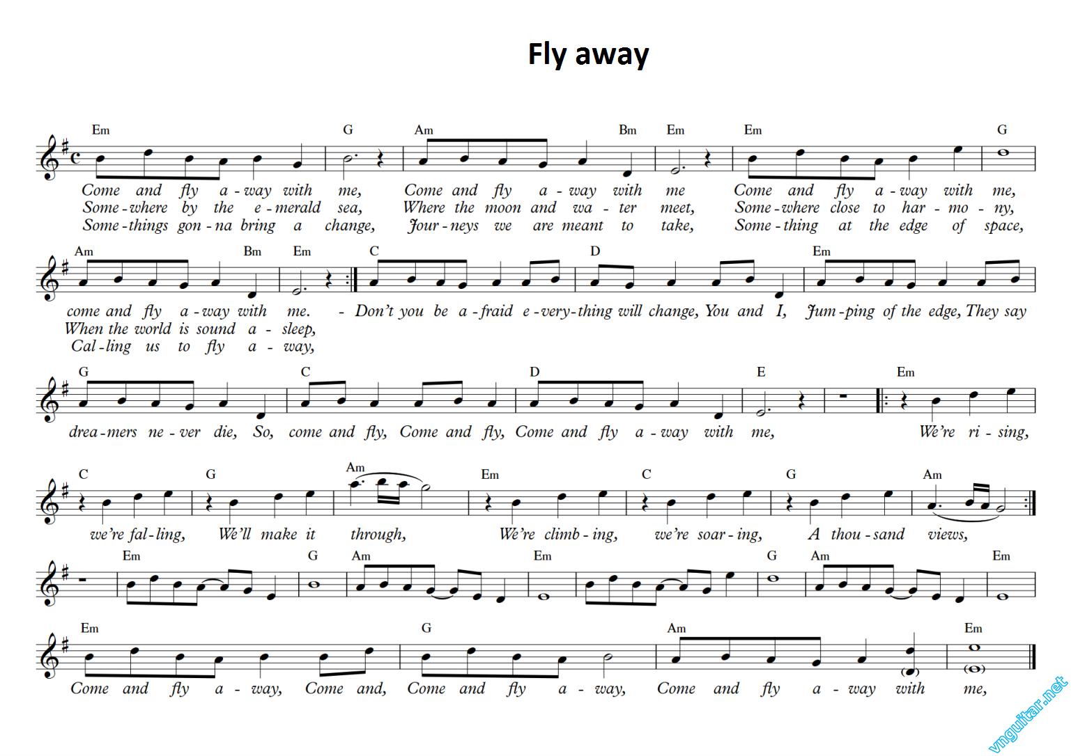 Sheet Notes Chords Fly Away The Fat Rat Sheet Nhc Nt