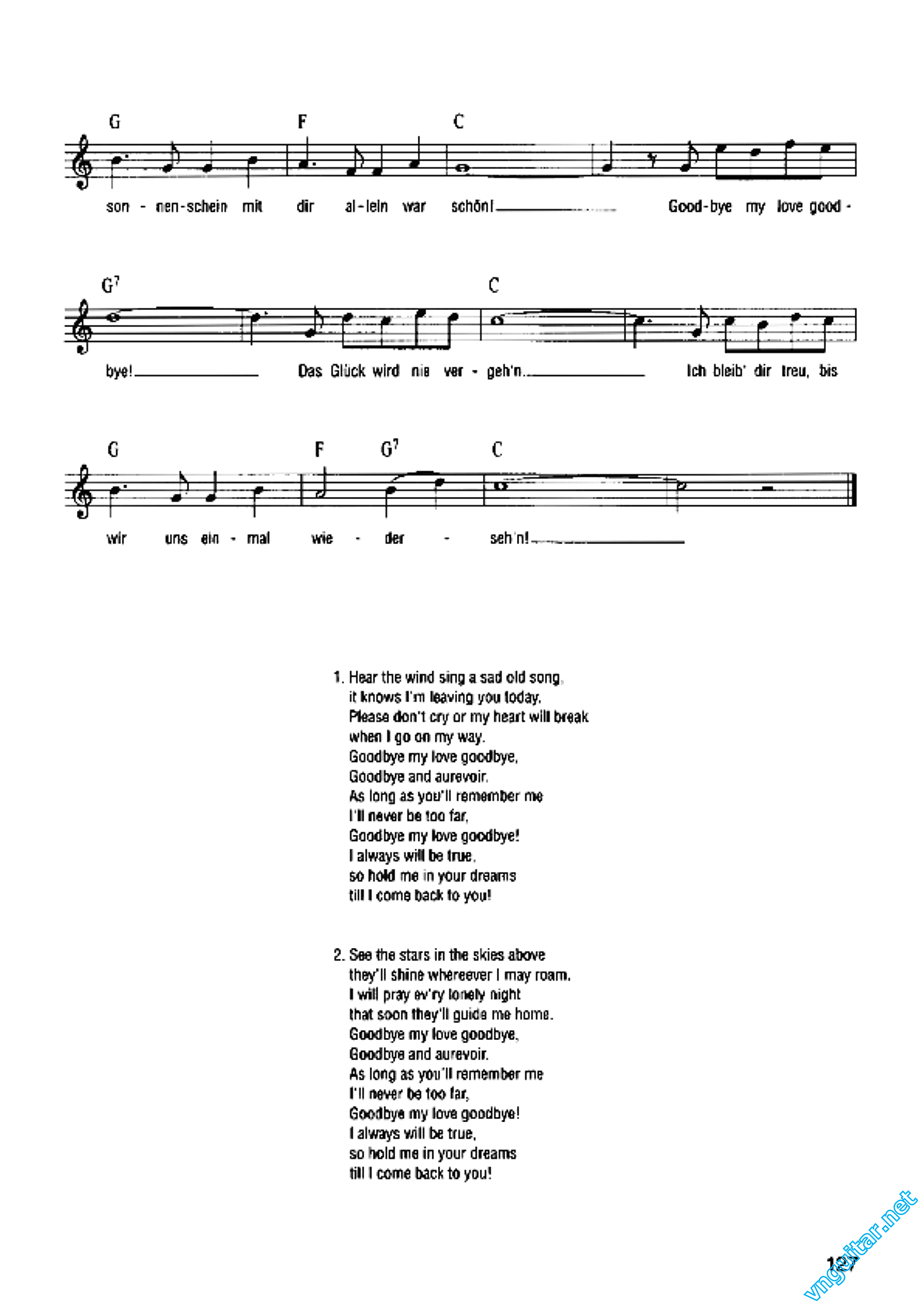 Sheet: Notes & chords - Goodbye my love goodbye - Demis