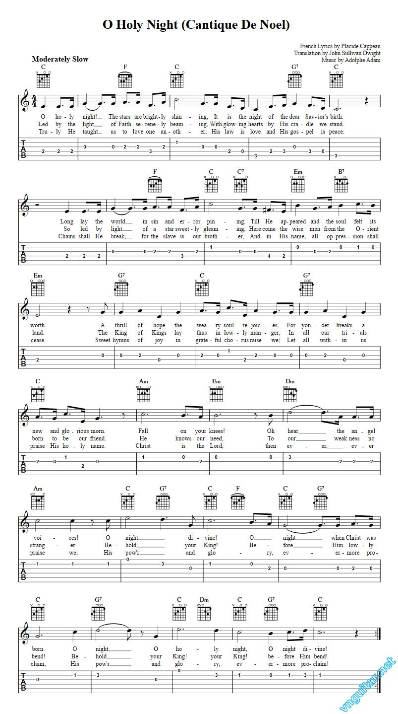 Sheet Notes Chords O Holy Night Adolphe Adam Sheet Nhc