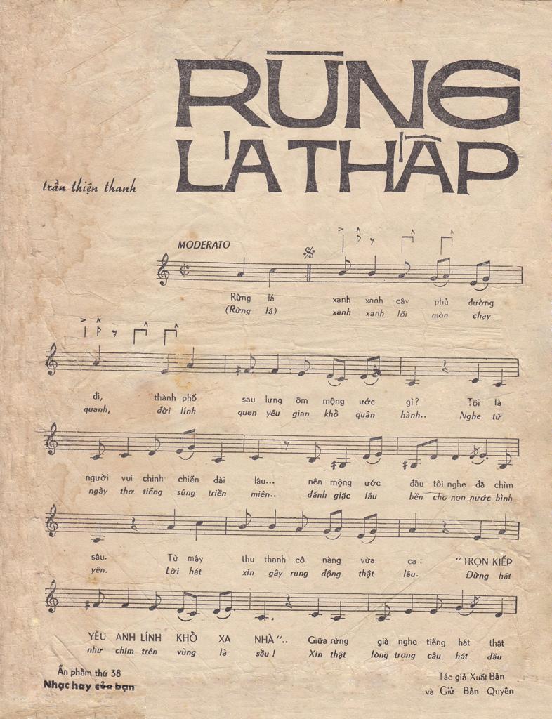 Sheet: Nốt nhạc và lời - Rừng lá thấp - Trần Thiện Thanh