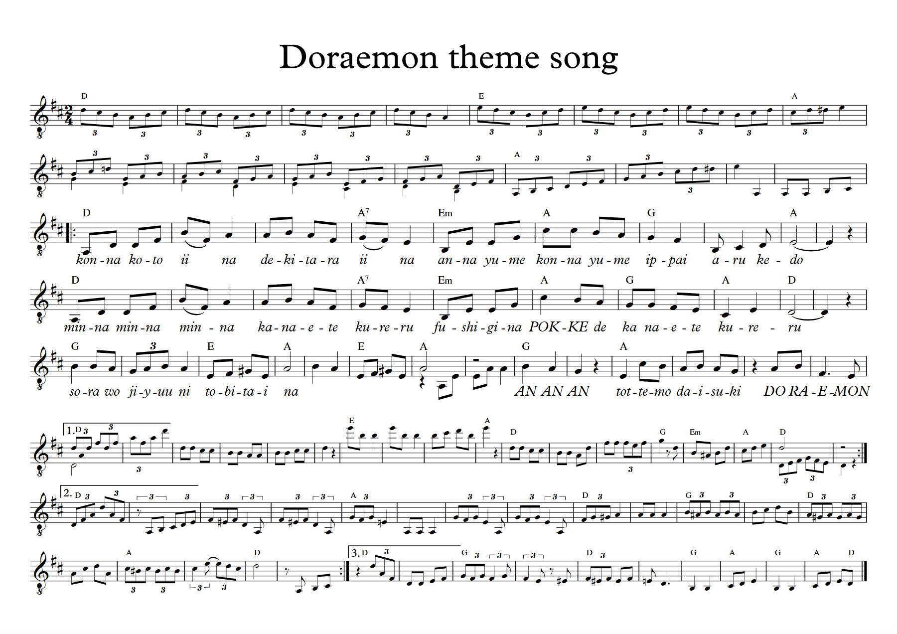 Sheet music Doraemon theme song.png