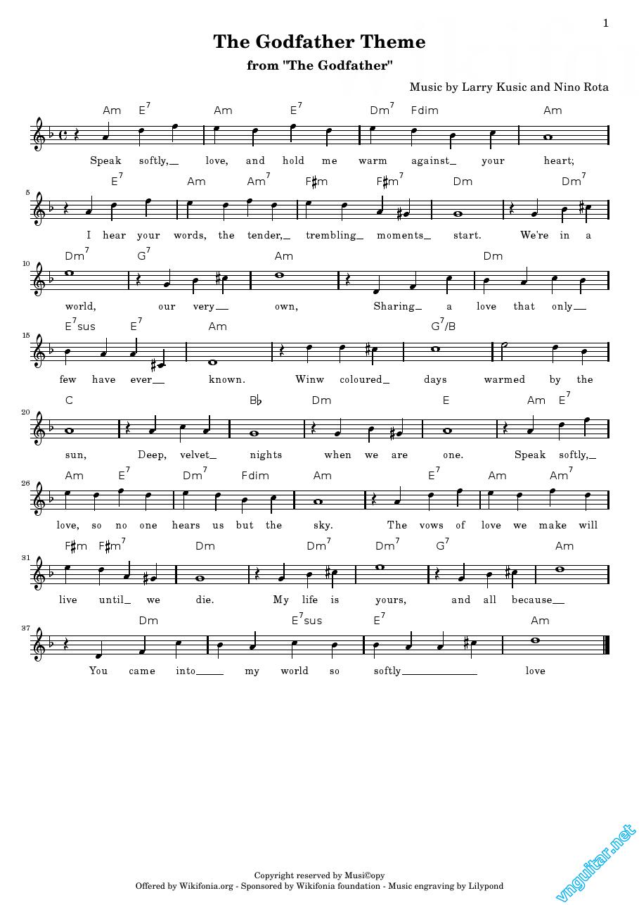 Sheet Notes Chords The Godfather Theme Larry Kusic Nino