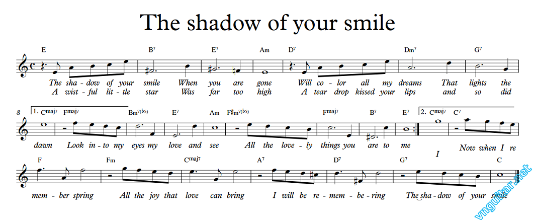 Sheet: Notes & chords - The shadow of your smile | Sheet nhạc | Nốt ...